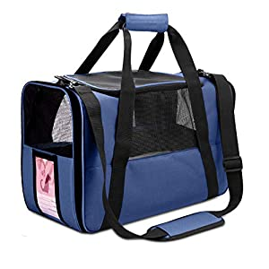 NAT Dog Carrier Cat Carrier Pet Carrier, Airline Approved Dog Carrier with Mesh Window, Breathable, Collapsible, Soft-Sided, Escape Proof, Easy Storage, Best for Small Medium Cats Dogs, Navy Blue