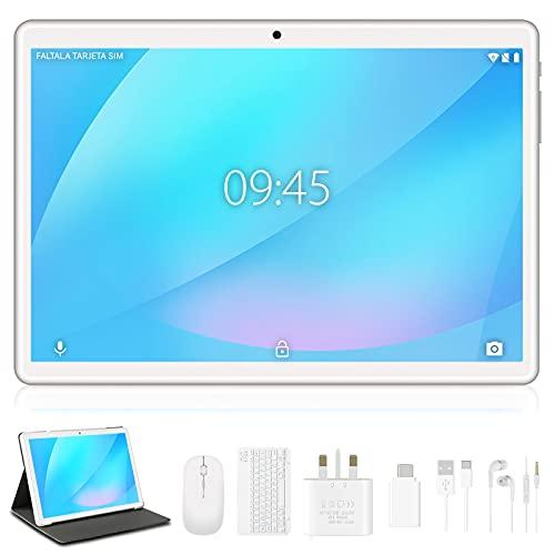 Tablet 10 Pollici Android 10 Originale, 4GB RAM 64GB ROM Espanso 128GB con Schermo IPS HD Tablets, Doppia SIM LTE con WIFI | 8000mAh | Bluetooth | GPS | Tablet con Tastiera e Mouse – Argento