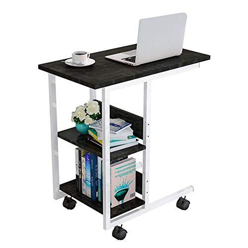 Mesa para portátil con ruedas, pequeña mesa auxiliar para sofá, mesita de noche, mesa de café con estructura de metal para dormitorio, salón