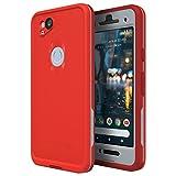 Lifeproof FRĒ Series Waterproof Case for Google Pixel 2 - Retail Packaging - FIRE Run (Cherry Tomato/Sleet/Molten Lava)