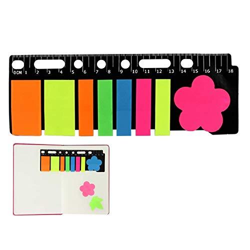 160 notas adhesivas, pestañas de índice de colores, cabeza plana fluorescente + marca de nota de forma especial, marcadores de página con medida de 18 cm para marcadores