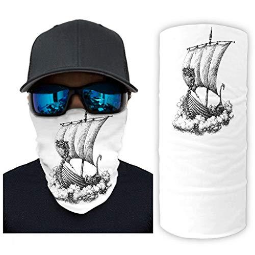 CCMugshop Bandanas para la cara, diseño de barco vikingo, dragón, Valhalla, estampado, lavable, color blanco, talla única