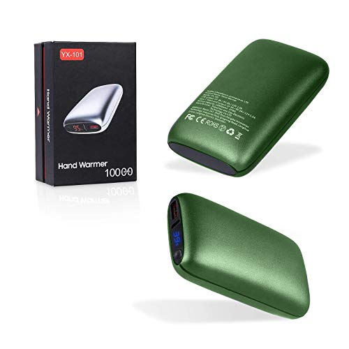 Feixi Hand Warmers Rechargeable, Portable Charger 10000mAh, Hand Warmer with Quick Heating, Power Bank with 18W PD Fast Charging for iPhone and Suit for Outdoor Activities, Best Gift in Winter,Green