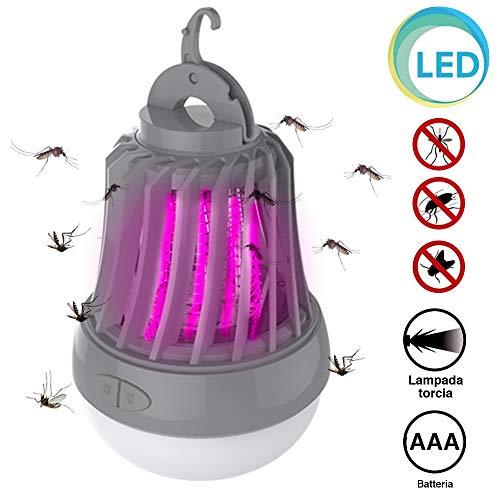 BAKAJI Elektrischer Fliegengitter UV-LED mit Lampen-Funktion Taschenlampe Notlicht LED Elektro Insektenvernichter mit Haken für Camping, Haus und Mücken, Stromversorgung AAA