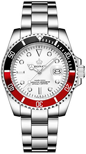 Mens Luxury Watches Rotatable Bezel Sapphire Glass Luminous Hand Quartz Silver Tone Stainless Steel Watch (White Red)