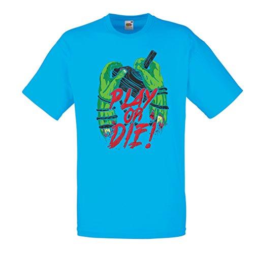 lepni.me Camisetas Hombre ¡Juegue o muera - Solamente para Jugadores ! (XX-Large Azul Multicolor)