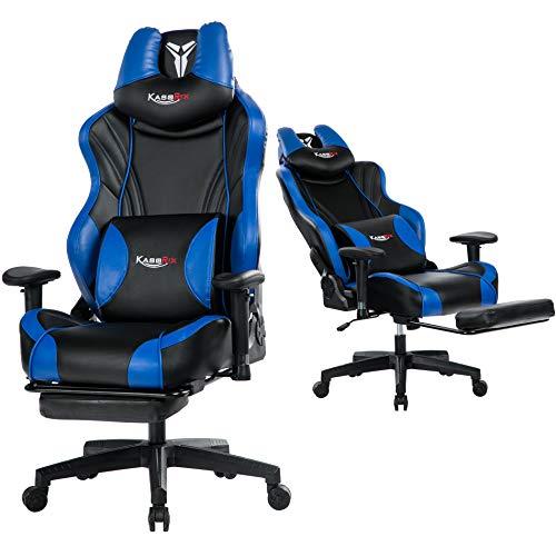Preisvergleich Produktbild Kasorix Gaming-Bürostuhl mit hoher Rückenlehne,  Verstellbarer Manager-Drehstuhl,  großer und hoher Rollstuhl aus blauem PU-Leder(Blau-8523)