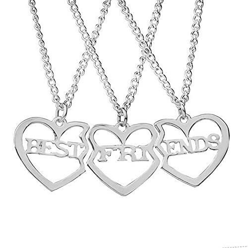 YIKOUQI Conjunto de 3 Piezas de Collar de Mejor Amigo para Mujer, Collar con Colgante de Amor de Metal Hueco de Oro Rosa Dorado, joyería de Amistad BFF