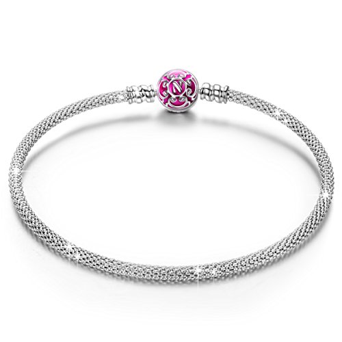 NINAQUEEN Bracelets for Womens fit Pandora Bracelet 19 CM Pink Mesh Women's jewellery best gifts with Jewellery Box 925 Sterling Silver Antibacterial Properties