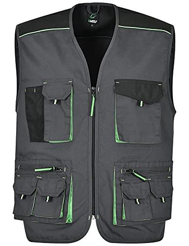 BWOLF Brave - Gilet da lavoro multifunzionale da uomo, con tasche con cerniera + rinforzato in poliestere Oxford 600D grigio/verde. L