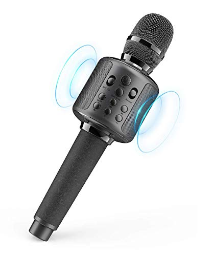 Karaoke Microphone Wireless Singing Machine with Bluetooth Speaker for Cell Phone/PC, Portable Handheld Mic Speaker Support Reverb/Duet (Renewed)