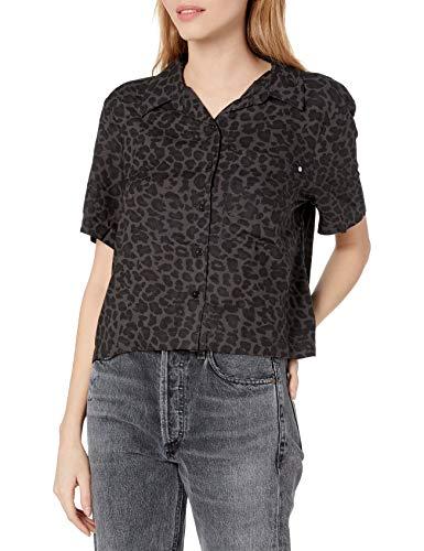 Element Damen Ramblin Short Sleeve Woven Hemd, Schwarz Leopard, Mittel