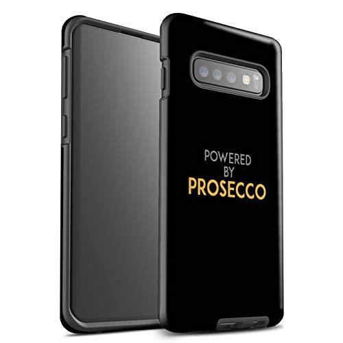Stuff4® glanzende harde schokbestendige hoes/case voor Samsung Galaxy S10 / Powered by/zwart/goud patroon/Prosecco-mode collectie