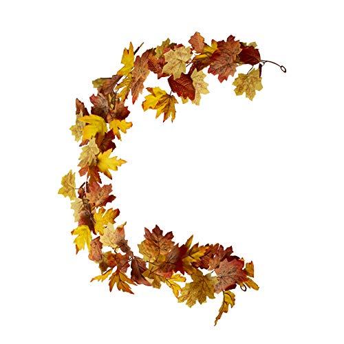 DuHouse Fall Garland Maple Leaves Decorations 6Ft/Piece Artificial Autumn Hanging Vines for Thanksgiving Christmas Home Mantle Fireplace Outdoor Decoration (Maple Yellow)