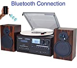 Boytone BT-28MB, Bluetooth Classic Style Record Player Turntable with AM/FM...