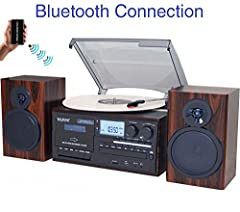 Record from Vinyl, Radio, and Cassette to MP3, SD sot, USB, AUX. Convert vinyl to MP3 format without a computer. Boytone BT-28MB Classic style with modern technology - Bluetooth wireless music streaming turntable with 2 separate stereo speakers. Wood...