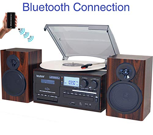 Boytone BT-28MB, Bluetooth Classic Style Record Player Turntable with AM/FM Radio, CD / Cassette Player, 2 Separate Stereo Speakers, Record from Vinyl, Radio, and Cassette to MP3, SD Slot, USB, AUX