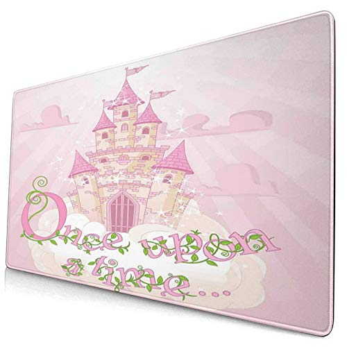 HUAYEXI Alfombrilla Gaming,Once Upon A Time Fairy Princess Castle On Sky Clouds Surrealista Dream World Girls Story Decorativo Rosa Crema Verde,con Base de Goma Antideslizante,750×400×3mm