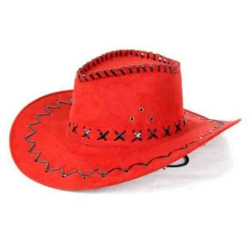 Hoed - Rood - Cowboy - Leatherlook