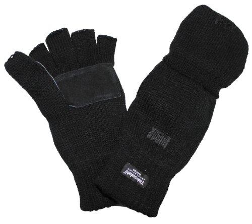 MFH Handschuhe Strick Ohne Finger Zugleich Fausthandschuh, schwarz, L