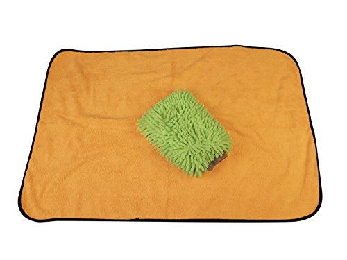 Kleen Freak Car Washing Drying Towel Large Microfiber Gold (24 in. x 36 in.) plus Car Wash Microfiber Chenille Mitt Large Lime Green (10 in. x 8 in.) Detailing Quality