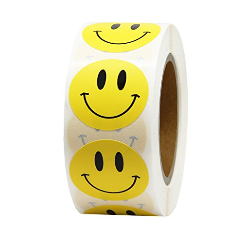 Hcode Smile Face Stickers Roll Happy Face Stickers Circle Dots Paper Labels Reward Stickers Teachers Stickers 500 Pieces per Roll (1 inch Yellow)