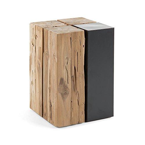 Kave Home - Table d'appoint Kwango carrée 29 x 29 cm en Bois Massif de Teck et Metal Noir
