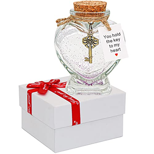 You Hold the Key to My Heart - Decorative Bottle Gift for Girlfriend or Boyfriend Valentine's Day /Christmas - Key in a Bottle Anniversary Jar Gift for Wife or Husband (Heart Shaped Glass Bottle)