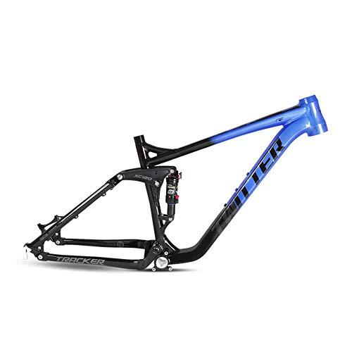 BIKERISK Tracker Full Suspension 27.5 29er QR9x135mm Mountain Bike Frame Ammortizzatore Posteriore in Alluminio AM XC MTB Bicicletta Coda Morbida,Blu,15.5 ″