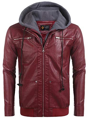 Coofandy Mens Casual Vantage Faux Leather Jacket Motorcycle Biker Coat With Fleece Hoodie, Wine Red, Large