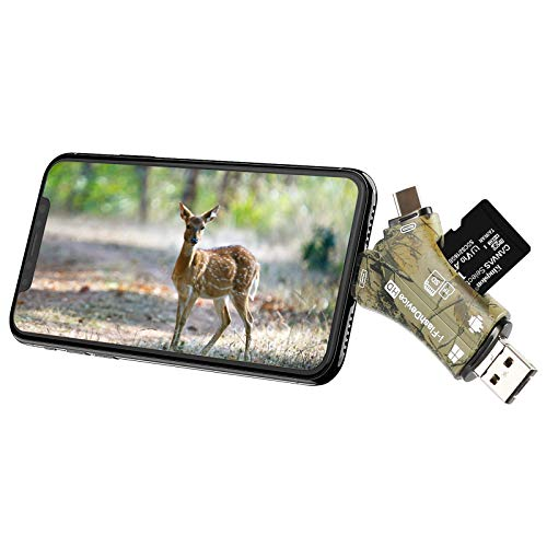 Liplasting Trail Camera Viewer SD Card Reader for iPhone iPad Mac & Android, 4 in 1 SD/Micro SD/TF Memory Card Reader Adapter to View Hunting Game Camera Photos or Videos on Smartphone