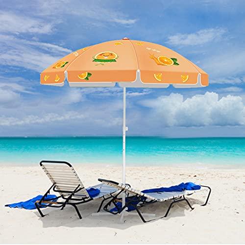 ZYFWBDZ Sombrilla de Patio de 8 pies Sombrilla de Mercado al Aire Libre Sombrillas de Mesa Sunbrella con 8 Varillas, diseño retráctil, fácil de almacenar y Transportar,Naranja