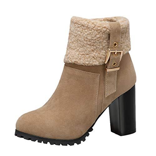 Damen Stiefeletten Warme Winterschuhe High Heels Stiefel mit Absatz Winterstiefel mit Fell Winter Hochhackige Schuhe