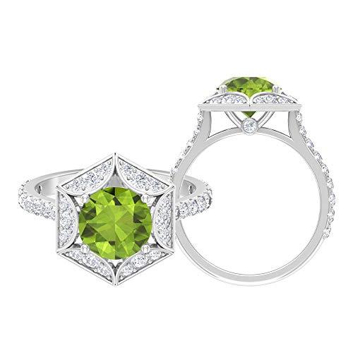 Anillo solitario de 8 mm, D-VSSI Moissanita, anillo de compromiso hexagonal, anillo de oro vintage, oro blanco de 14 quilates verde