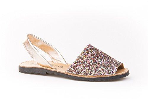 Sandalias Menorquinas en Glitter, Todo Piel Mod.204. Calzado Made in Spain, Garantia de Calidad. (40, Multicolor)
