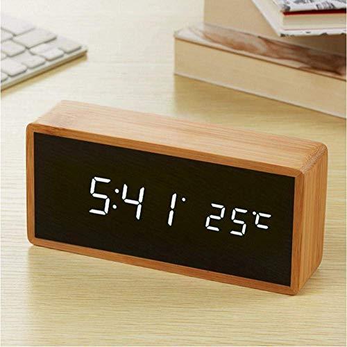 Creative Bedside Klok Pretty Led klok met Exquisite digitaal horloge elektronische klok temperatuur geluid controle Leuke wekker Bureau en tafelblad bamboe houten slaapkamer en Study nachtkastje