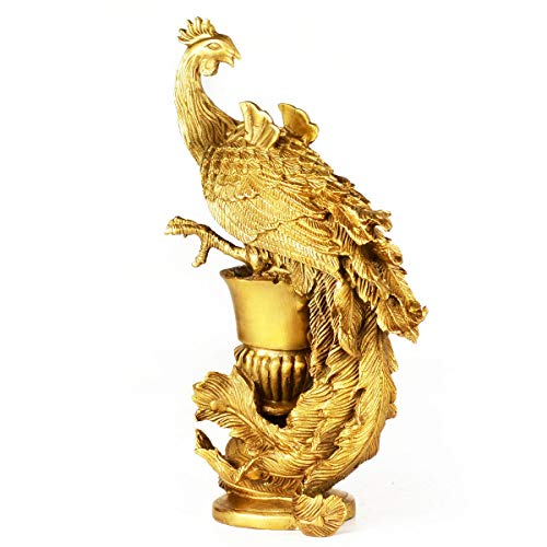 Decoración de Escritorio Phoenix Estatua de Bronce Adornos Crafts Boda Feliz Regalo Inicio Feng Shui Cobre Puro Adornos de Escritorio