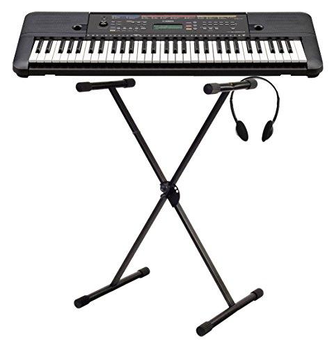 Yamaha PSR-E263 Keyboard Set (ideal für Einsteiger, inkl. Keyboardständer und Mulifunktions-Kopfhörer) Schwarz