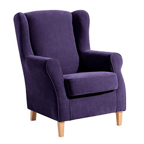 Max Winzer® Ohrensessel Lorris, violett (lila), Veloursstoff, Retro, romantisch, Landhaus, 77 x 86 x 103 cm
