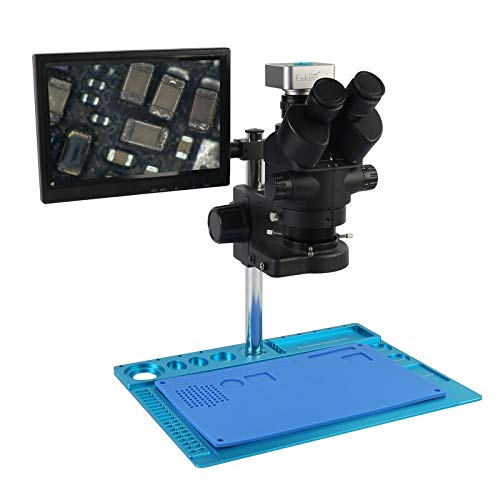 HONYGE L-Ying Microscopes, 36MP 2K USB HDMI Video Camera 7X-45X Parfocal Simul-Focal Trinocular Stereo Microscope Maintenance Workbench for PCB Repair (Color : Orange)