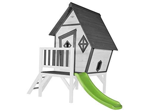Beauty.Scouts Holzspielhaus Valka XL mit Leiter und Rutsche 167x261x219cm aus Holz in grau-weiß Kinder Kinderspielhaus Holzhaus Stelzenhaus asymmetrische Tür