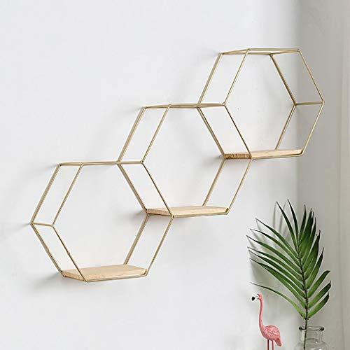 Estantes, repisas hexagonales hexagonales, estantes de hierro arte hexagonales flotantes, estanterías de almacenamiento partición pared, pared estante colgante Tamaño: 10 * 21 * 61cm ( Color : Brass )