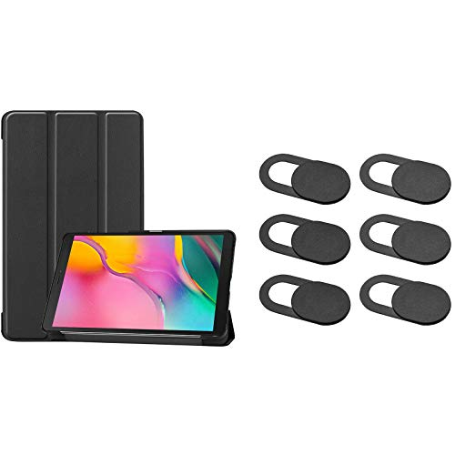 ProCase Galaxy Tab A 8.0 2019 Folio Case T290 T295 Bundle with [6 Pack] ProCase Webcam Cover Slide for MacBook Air Pro iMac iPad iPhone Echo PS4 Tablet PC Computer