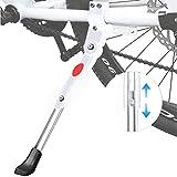 Soporte Lateral de Bicicleta - WENTS Pata de Cabra para Bicicleta Aluminio Soporte Ajustable del Retroceso de Bici para Ciclismo de Bicicletas Diámetro de Rueda 22-27 Pulgadas (Blanco)