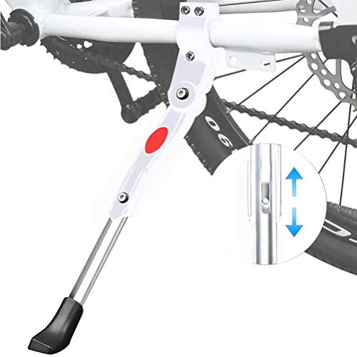Cavalletto Bici - WENTS Supporto laterale per biciclette Bike Stand Cavalletto Regolabile Universale Supporto per Bicicletta Mountain Bike Bici da strada con Diametro Ruota 22-27 pollici (Bianca)