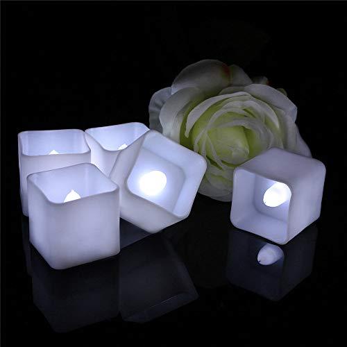 Wzlight Kerze-Licht-12 Satz-neues Jahr-kreatives Kerzen-Licht rauchiger grüner Tee-Tee-elektronische Kerzen führte quadratische Kerze-Ostern-Kerze (Color : Cool White)