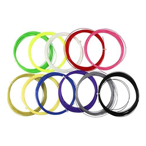 Garneck 10pcs Badminton Racket String,10m, Durable High Elastic Tennis Racket Line Thread Wire Replacement for Gym Sport Training 10m (Random Color)