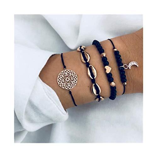 LZZR Black Beads Moda en Forma de corazón Varias Pulseras de señoras (Color : Moon)