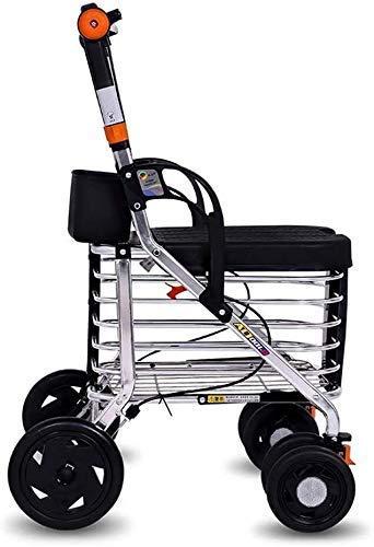 BSJZ Confíe en Andador para Personas Mayores Andador con Ruedas Plegable Andador con Ruedas de Cuatro Ruedas con Carrito de Compras Carro Ligero de Aluminio para per