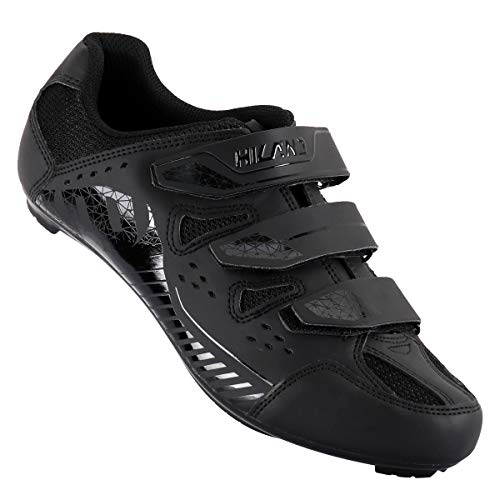 Hiland Indoor Cycling Shoes 3 Bolt Spin Road Bike Shoe for Women Men Spinning MTB Lock Pedal Bicycle Cleated Compatible with Look Keo Delta Shimano SPD SPD-SL Cleats Black White 40